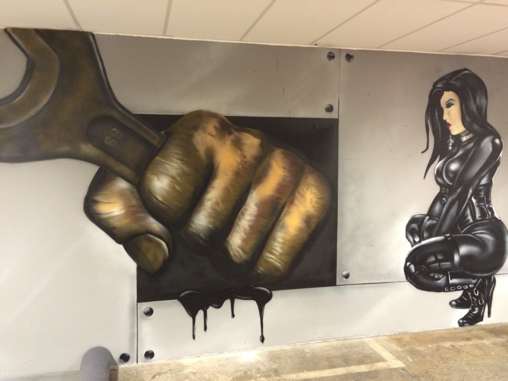 Graffiti part of mancave mural greasy knuckles by Ronald Duikersloot for Tony Dice